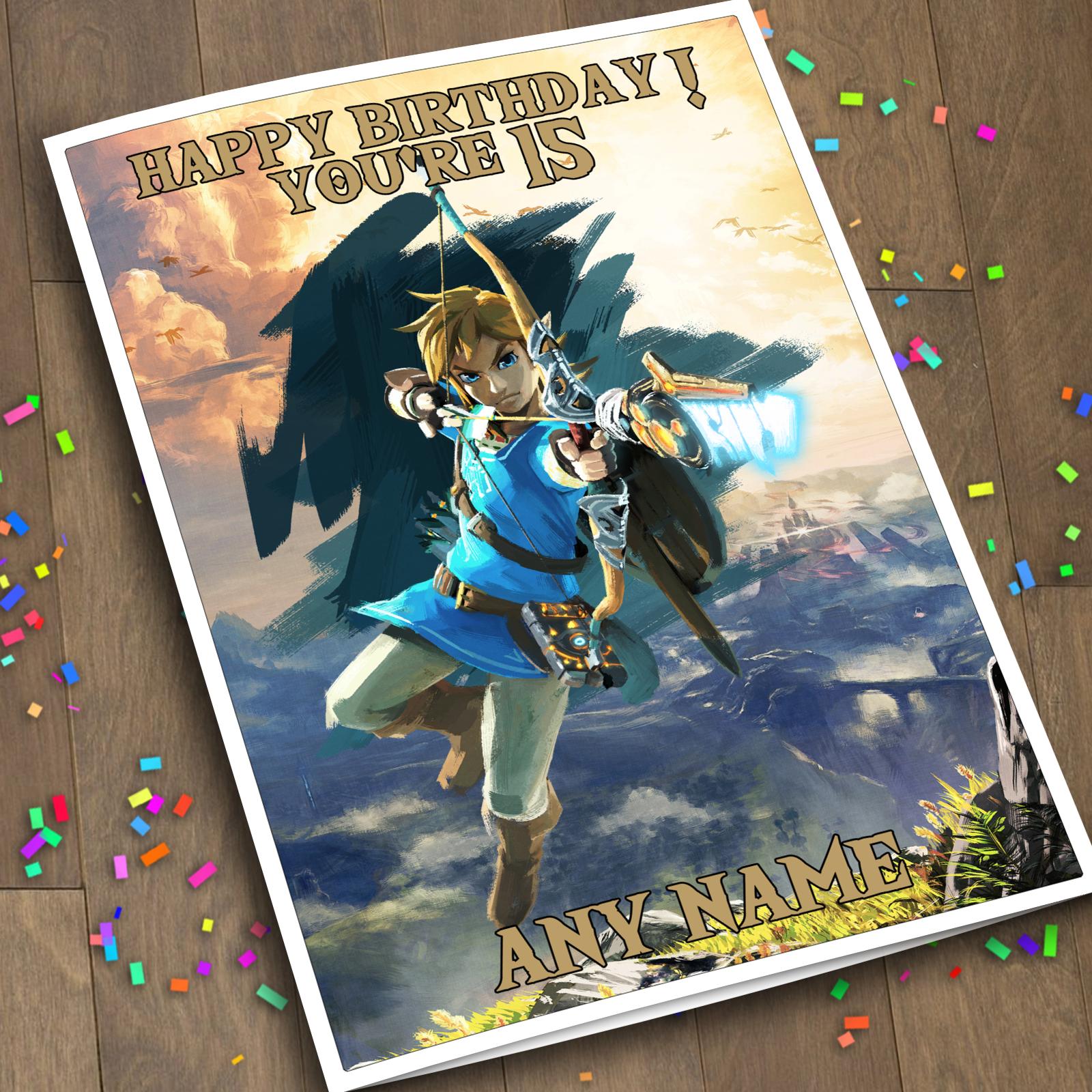 Legend Of Zelda Breath Of The Wild Personalized Birthday Card Link Arrow Birthday Cards Happy Birthday Cards Husband Birthday Card