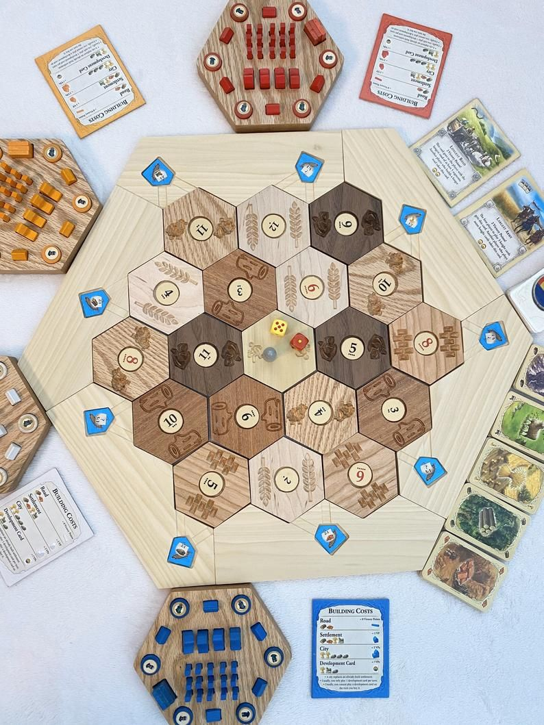 Set of Wood Pieces for Settlers of Catan settlements /& cities roads Gold