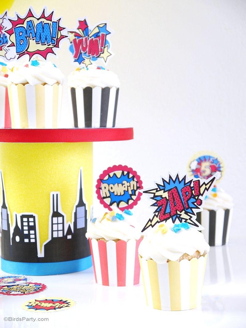 Superhero Birthday Party Printables Supplies & Decorations | Cupcake ...