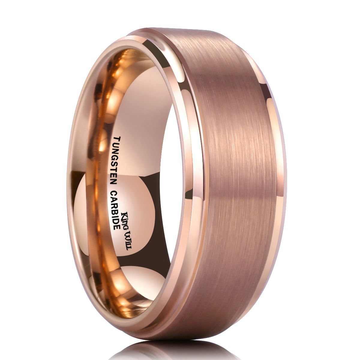 7af13e8c933 Explore Tungsten Carbide Wedding Bands and more! KING WILL GLORY™ 8MM ROSE  GOLD PLATED RING WITH BRUSHED CENTER