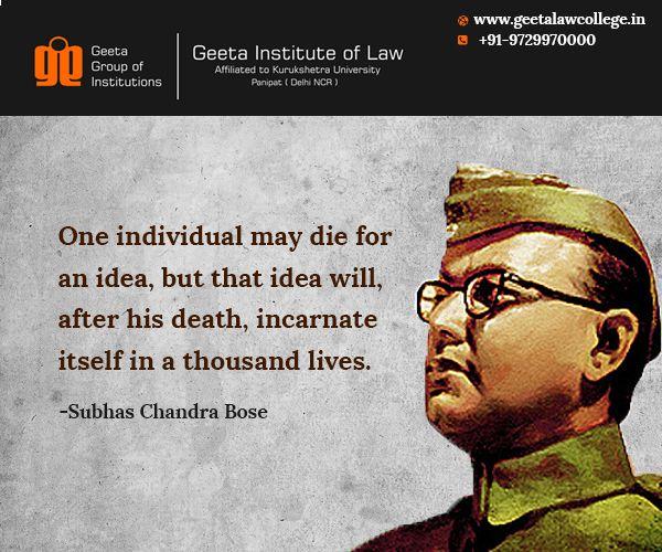 Netaji Subhash Chandra Bose S 115th Birth Anniversary Today Geetainstituteoflaw Subhas Chandra Bose Kurukshetra My Hero