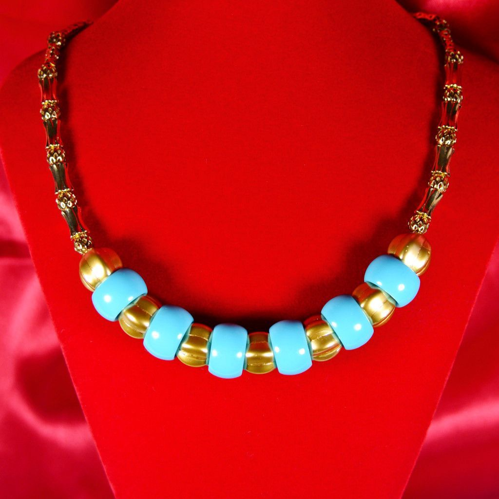 Retro 80s Miami Beach Style Gold And Turquoise Necklace