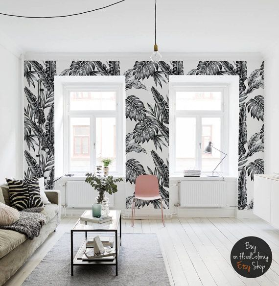 black and white plants wallpaper tropical and exotic contrastive self adhesive 70. Black Bedroom Furniture Sets. Home Design Ideas