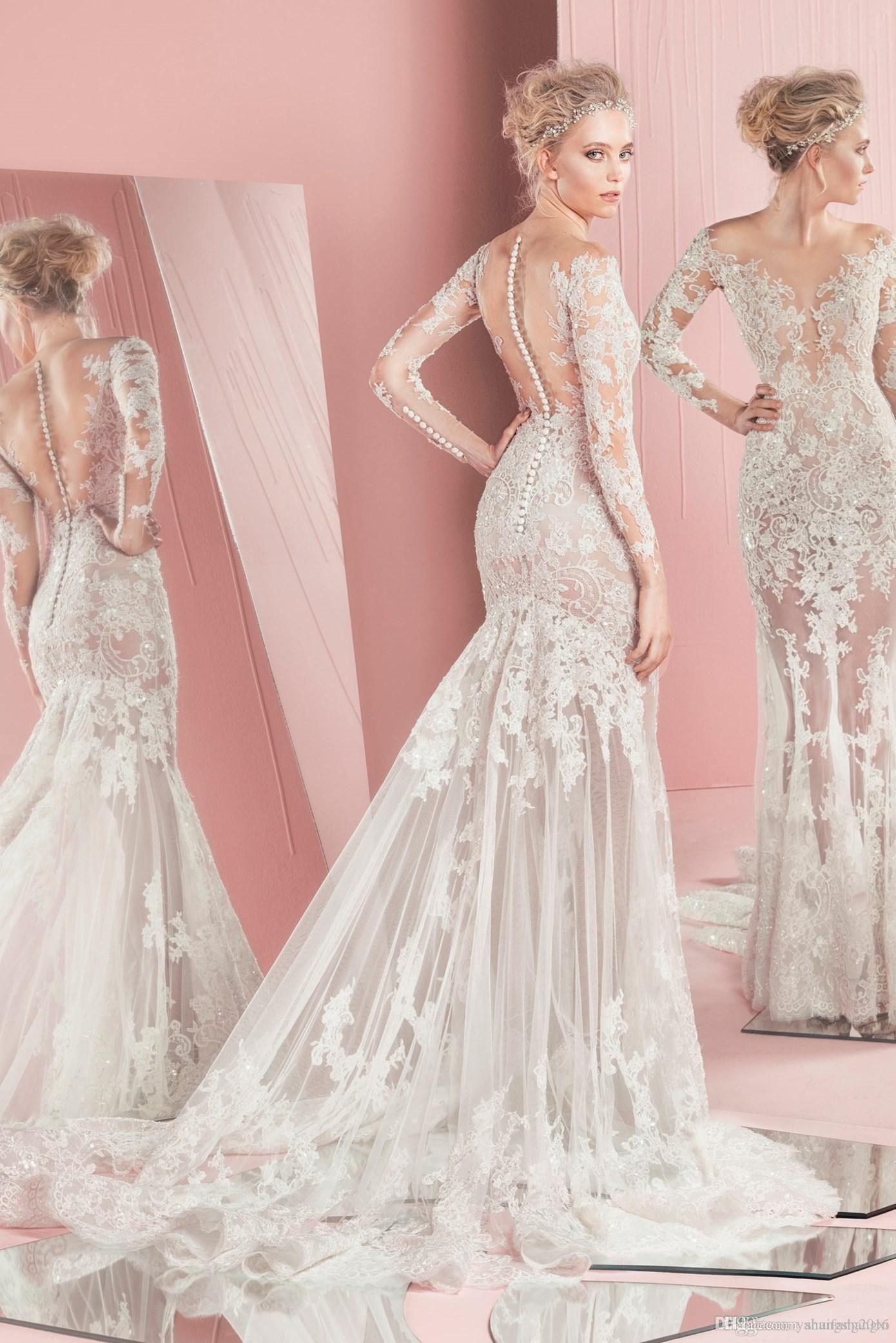 Spring 2016 Zuhair Murad Wedding Dresses Long Sleeves Jewel Sexy ...