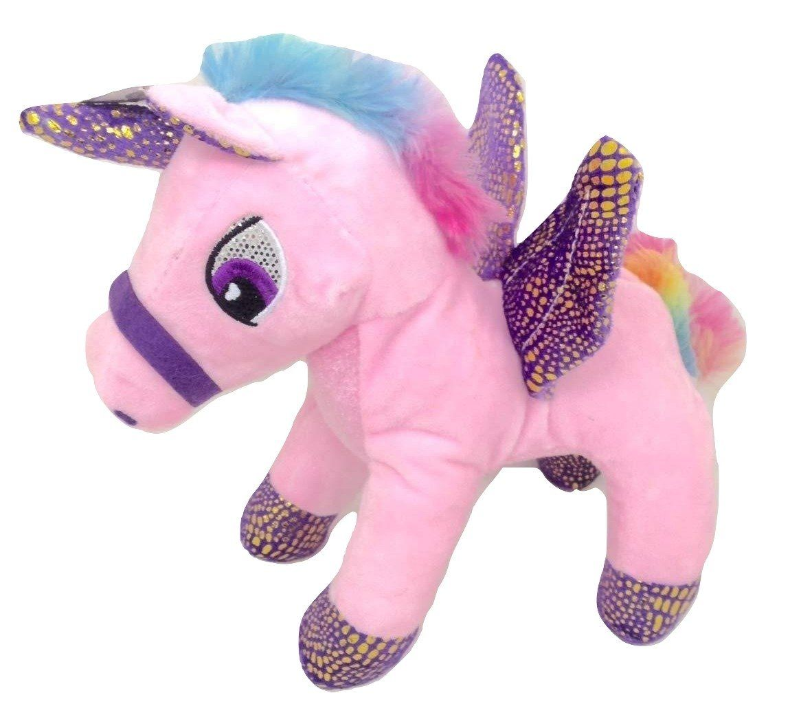 Pink Unicorn With Wings And Rainbow Colored Manes Plush Stuffed