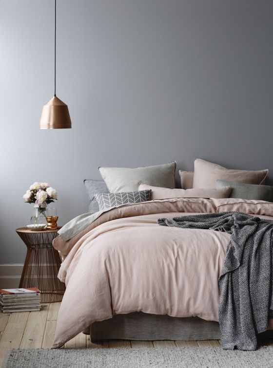 For our bedroom - too pink Mark? Grey walls are the perfect back drop for  dusky pink furnishings. Just add some copper accesspries for a chic modern  look