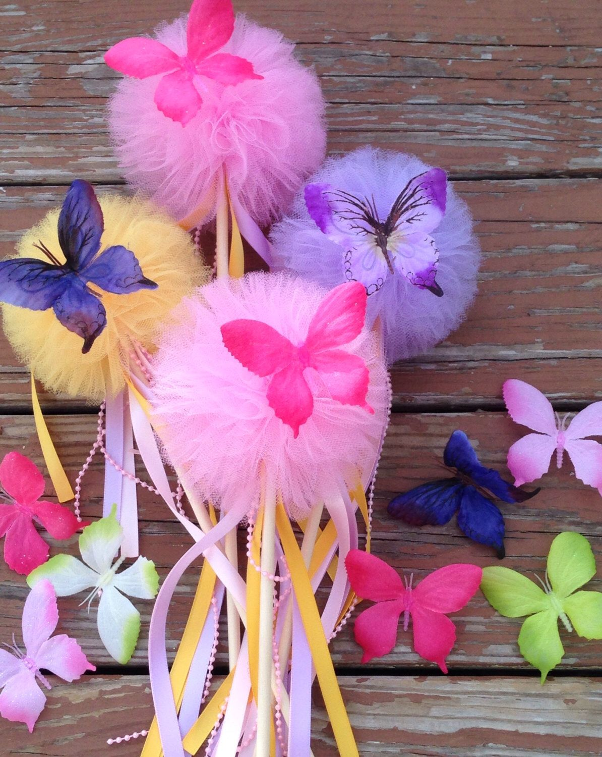 5 Tulle pom poms butterfly Wand ,Party Decoration,fairy wands ...