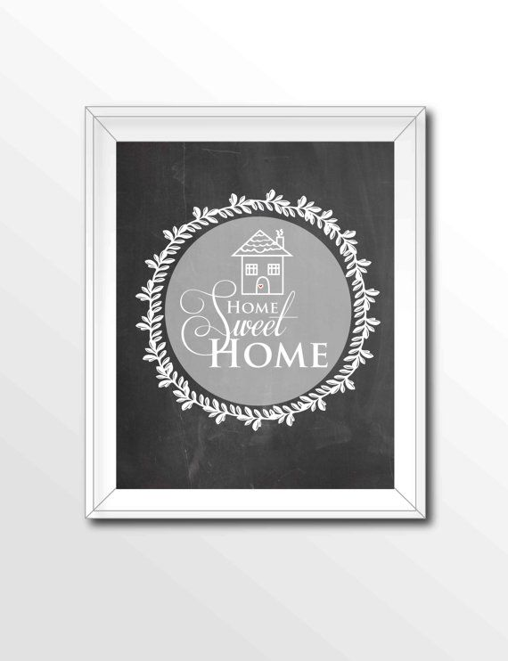 $5 Home Sweet Home Printable, Chalkboard Art Print, White and Gray Decor, Home Wall Art