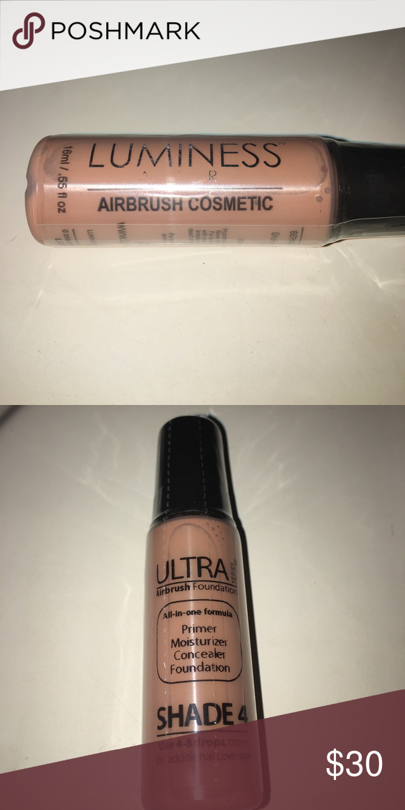 LUMINESS ULTRA AIRBRUSH FOUNDATION New and unopened. All in one formula. Primer, moisturizer, concealer, AND FOUNDATION! All in one! Super COVERAGE. This one is just extra and I don't need it. Shade 4 for medium skin. This product is new and authentic! For use with Luminess Air system or any other airbrush system! .55 fl oz **Make me a reasonable offer.🙂 Luminess Makeup Foundation