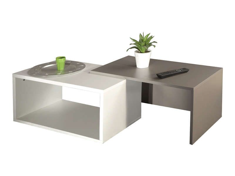 Table basse gigogne rubis coloris blanc taupe pas cher - Table rubis conforama ...