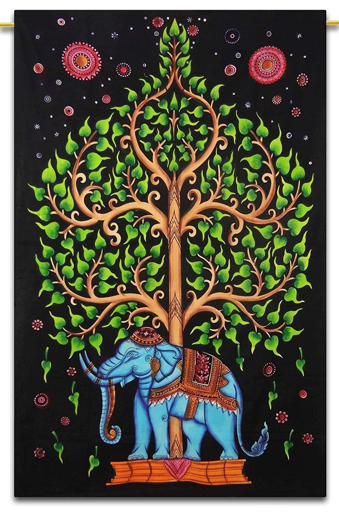 Handmade Cotton Jungle Yoga Mat Tapestry Ethnic Indian Poster Size Table Cover