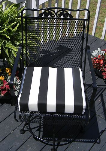 Exceptional Outdoor Universal Patio Chair Cushion Black White Stripe Foam Choose Size |  EBay