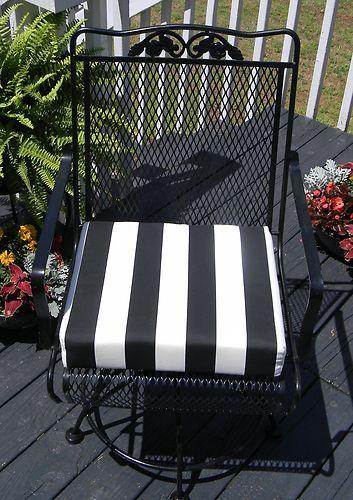 Outdoor Universal Patio Chair Cushion Black White Stripe Foam