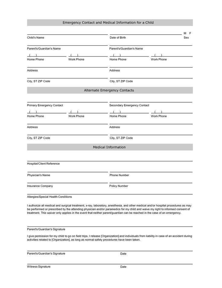 Student information sheet emergency prepare RAIN Pinterest - key release form