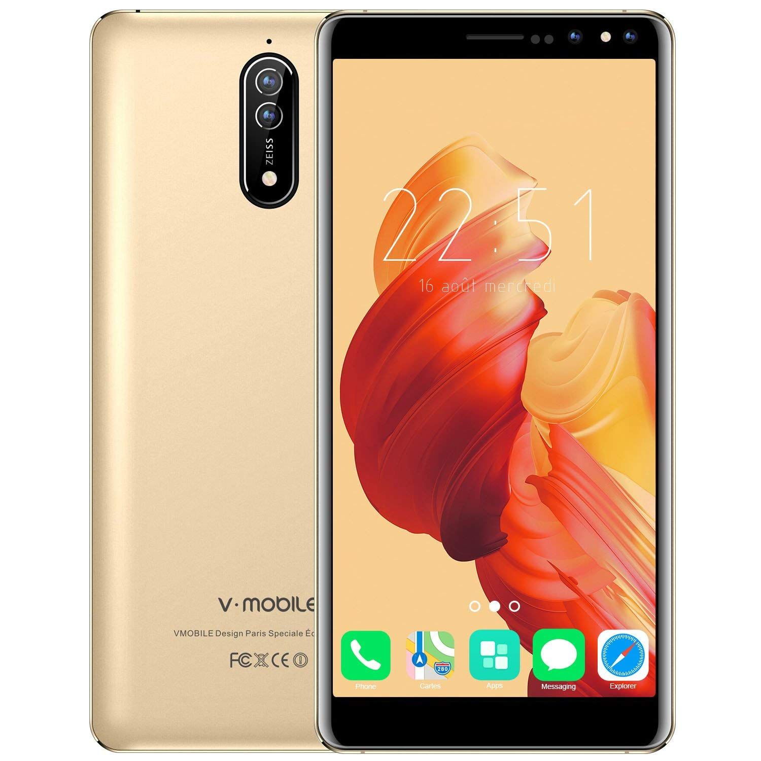 7cf67a1595b V·MOBILE N8 4G Smartphone pas cher debloqué portable double Sim Android 7.0  telephone 5.5