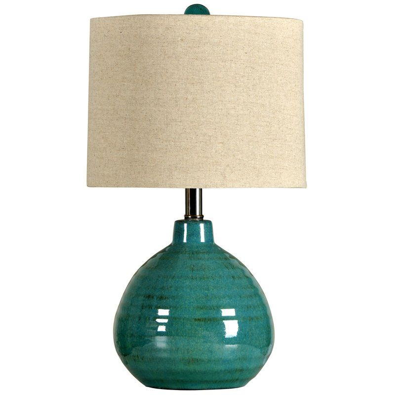 Great An Eye Catching Accent Turquoise Ceramic Table Lamp With Natural Linen  Hardback Shade. Ideas