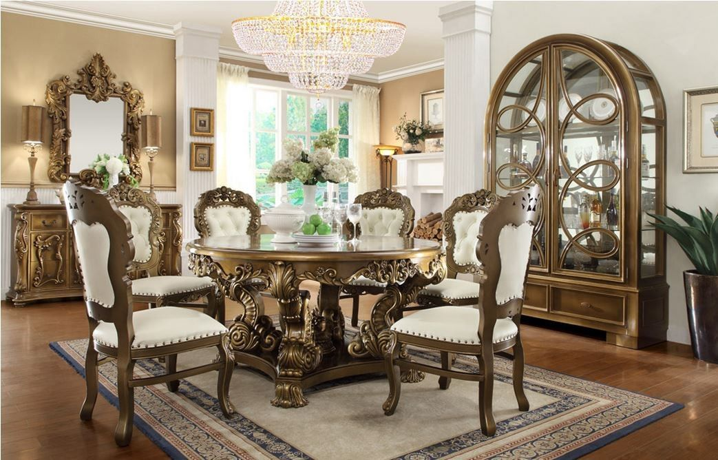 5pcs Ding Set Table 4 Side Chairs Homey Design Hd 8008 Victorian Palace Dining R Traditional Dining Room Sets Round Dining Table Sets Antique Dining Rooms