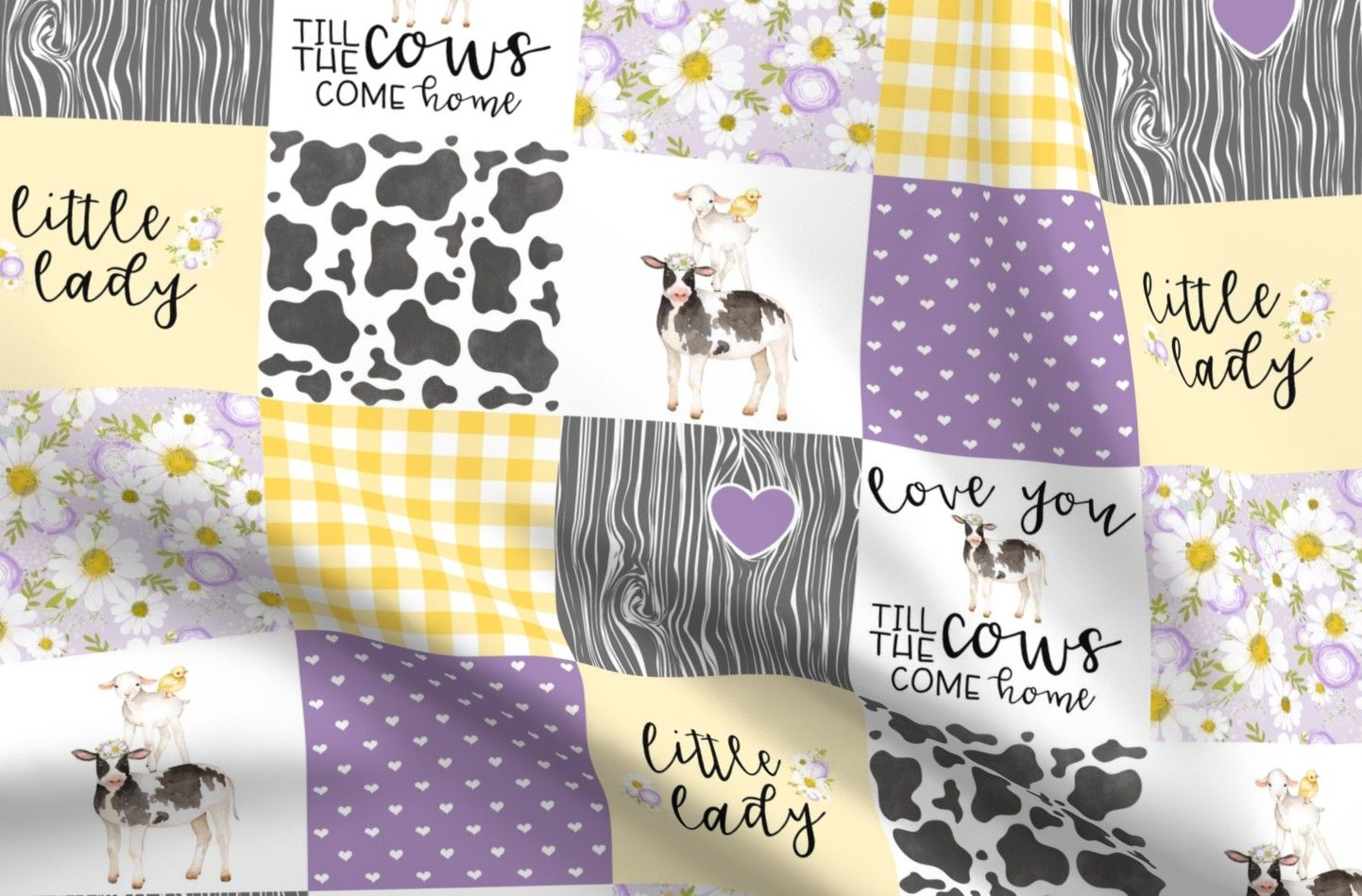 Little Lady Cotton Jersey Fabric Fat Quarter Farm Animals  By Spoonflower