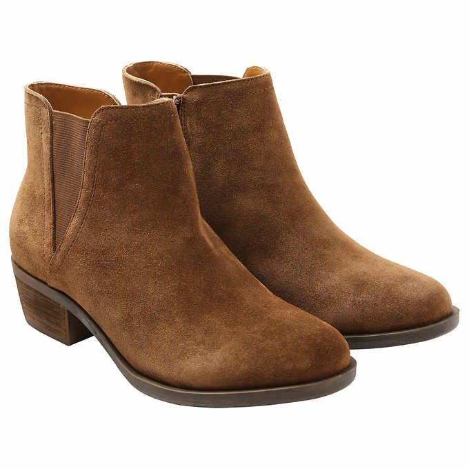 Womens Tan Brown Short Suede Ankle Boots With Zip And Elastic Ladies Low  Heel
