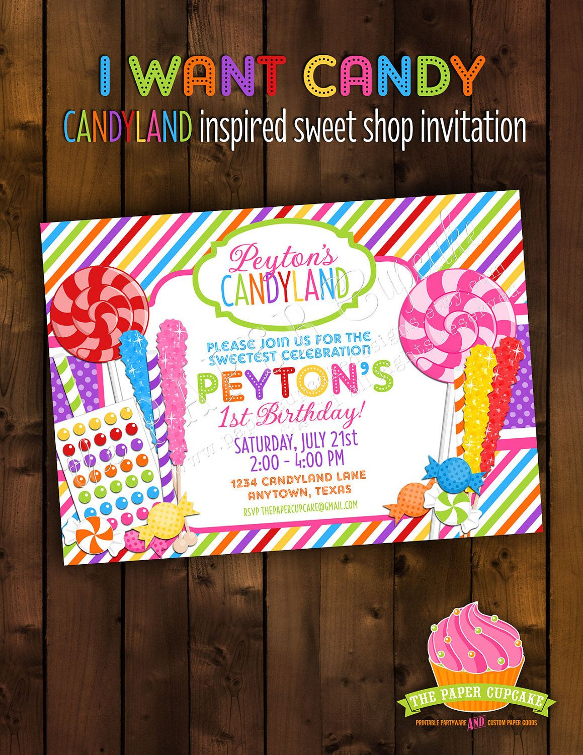 Printable Invitation Design - I Want Candy - Candyland Inspired ...