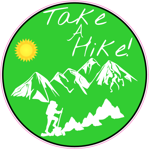 Get this take a hike green circle sticker online at the u s custom stickers decal store