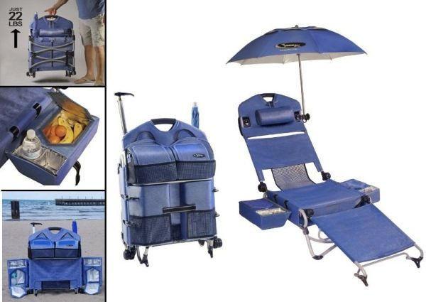 The Loungepac Beach Chair Has Attached Coolers With Cup Holders Umbrella Mount Tote Bag Pillow And Storage Compartment