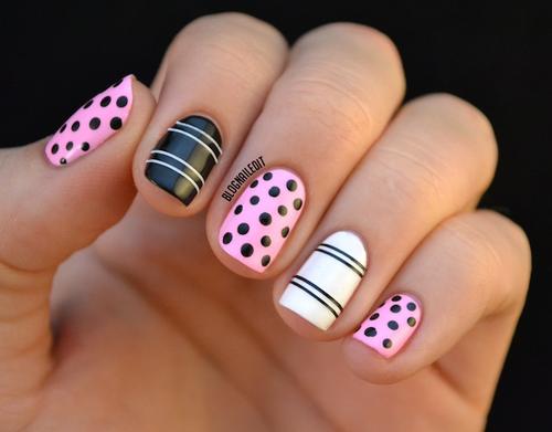 Found on blognaileditspot via tumblr nail ideas pink black white stripes and polka dot nails sciox Images