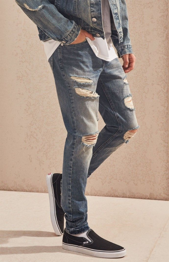 0ecc37e8a7c1 Pacsun Stacked Skinny Ripped Zip Medium Jeans - 32W X 30L | Products