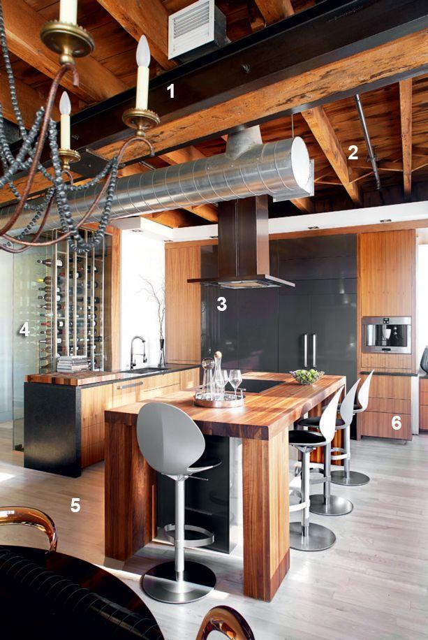 cuisine de caract re avec cellier dans un loft du vieux montr al vieuxmontreal cuisines. Black Bedroom Furniture Sets. Home Design Ideas