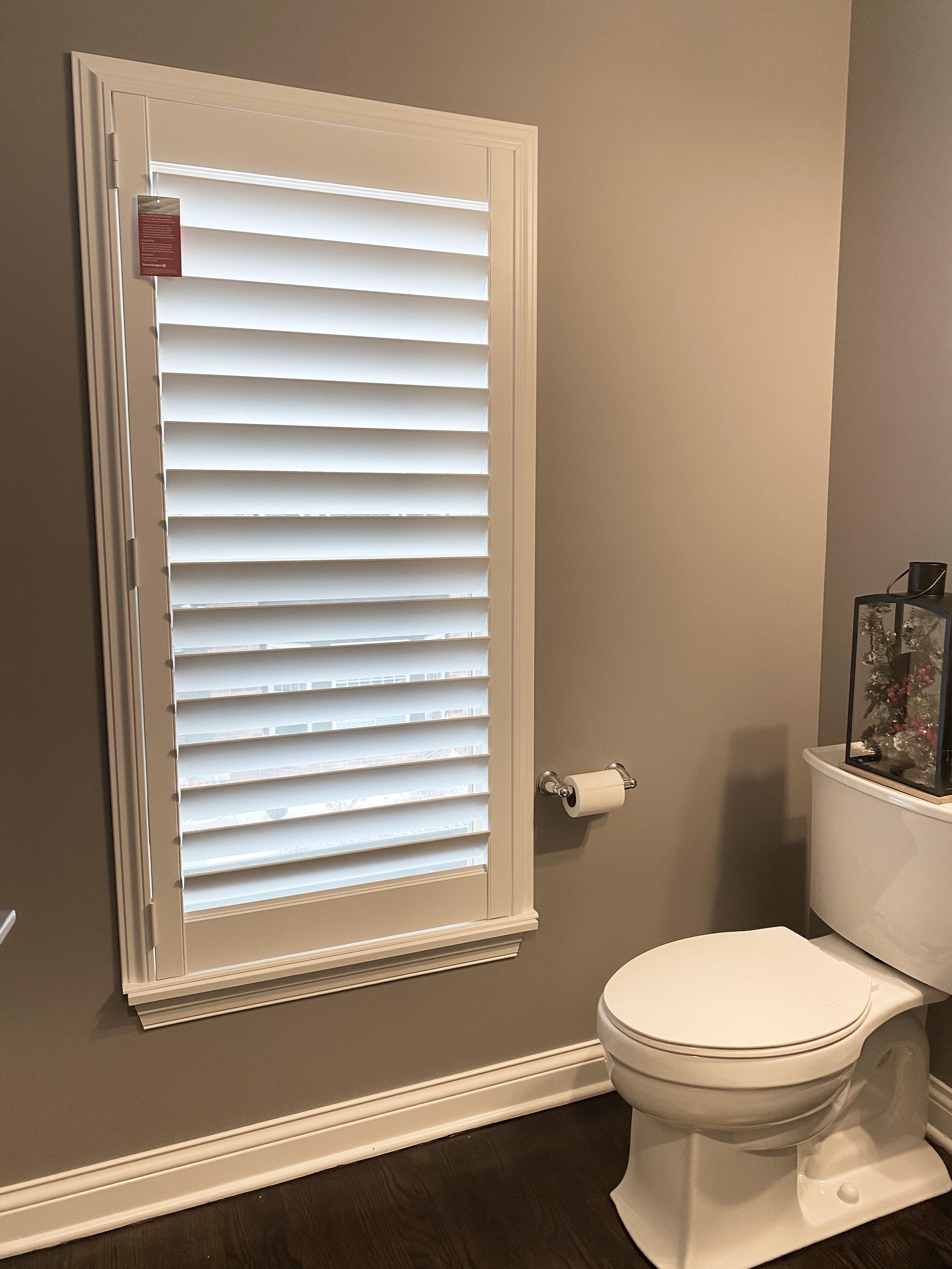 Shutters For A Powder Room In Libertyville Il In 2020 Hunter Douglas Shutters Window Design Shutters