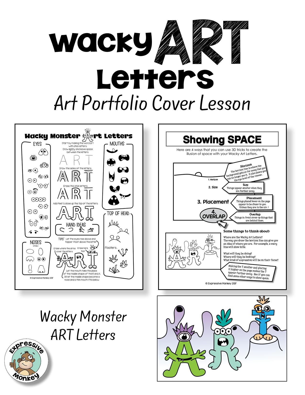 Wacky Art Letters Art Portfolio Cover Lesson