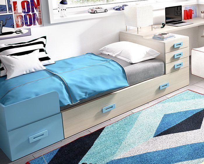 Cama modular con baúl contenedor y cajones. | Casa | Pinterest ...
