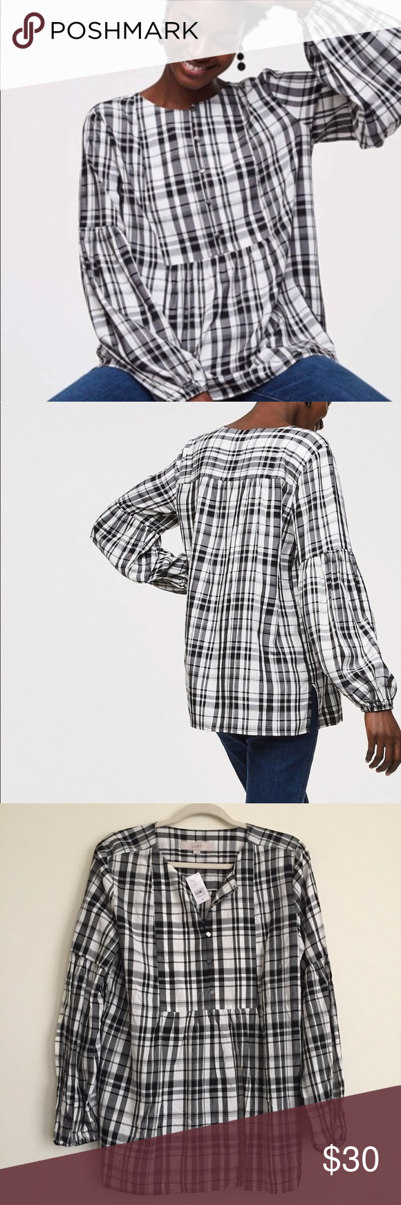 cb181f9ba9b NWT LOFT | Henley Plaid Tunic Top LOFT Black, White Plaid Long Sleeve  Womens Size