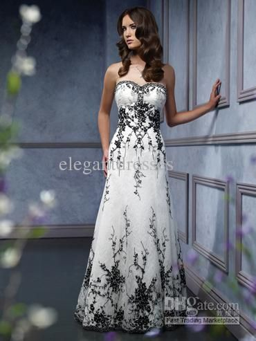 Sweetheart Black Embroidery Accented A Line And White Wedding Dress WD1346