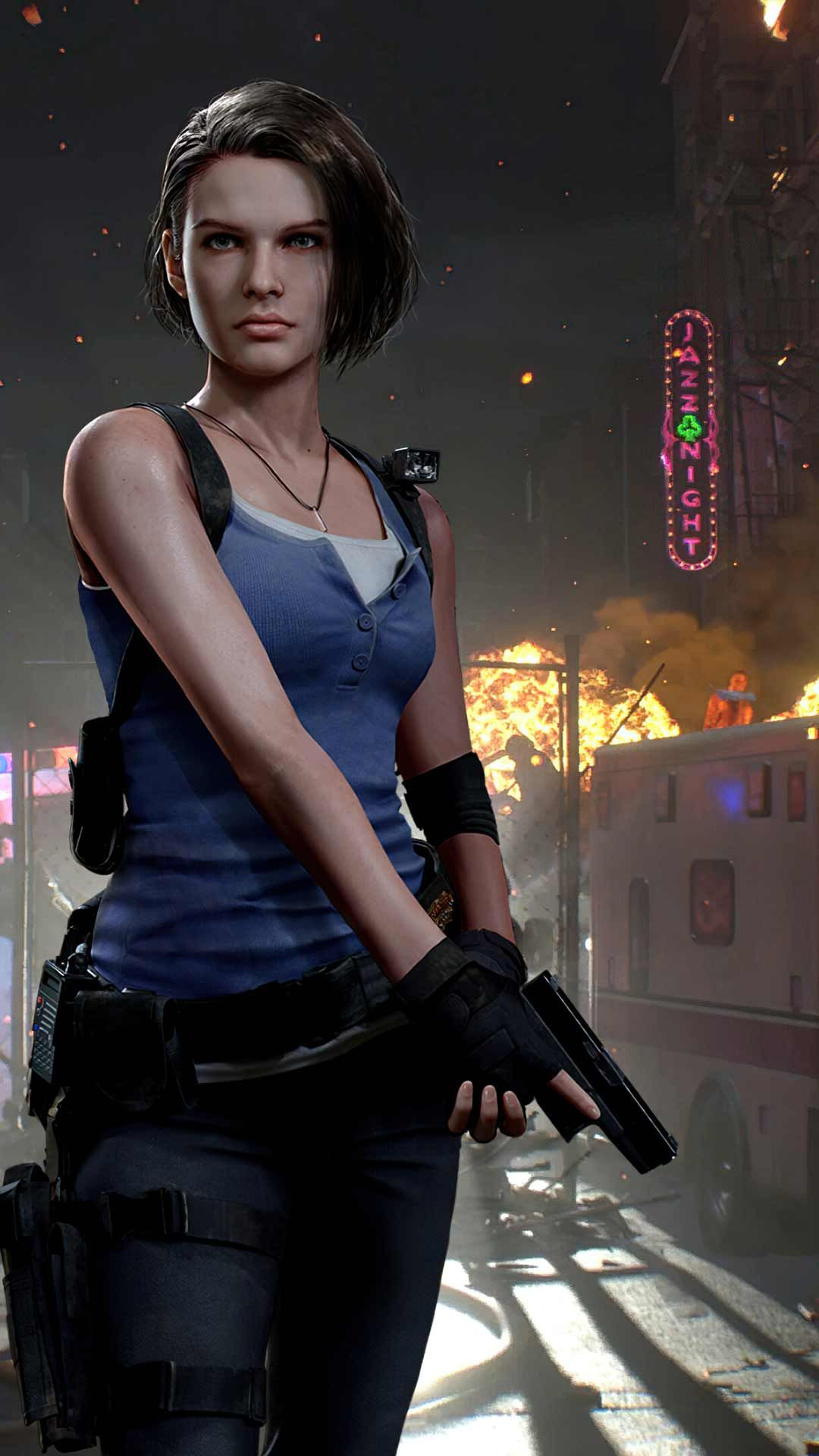 Jill Valentine Re3 Remake Wallpaper Hd Phone Backgrounds 2020 Game Art Poster On Iphone Android In 2020 Jill Valentine Resident Evil 3 Remake Resident Evil