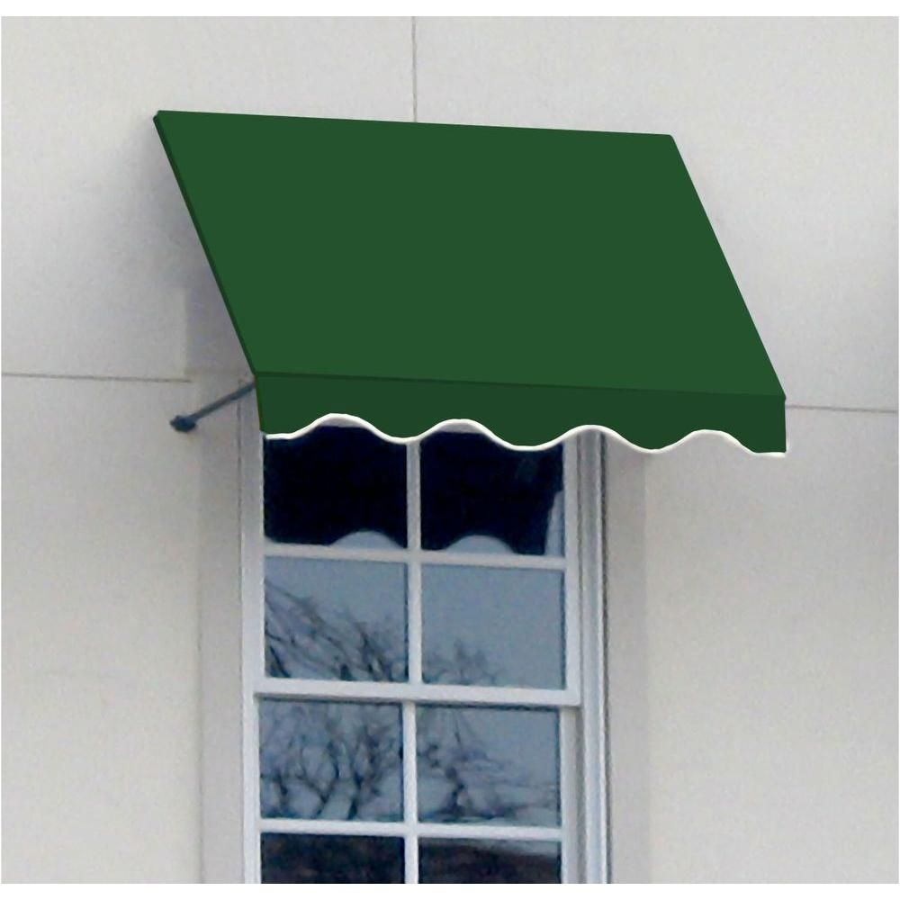 Awntech 12 Ft Dallas Retro Window Entry Awning 44 In H X 36 In D In Forest Green Fabric Awning Awning Windows
