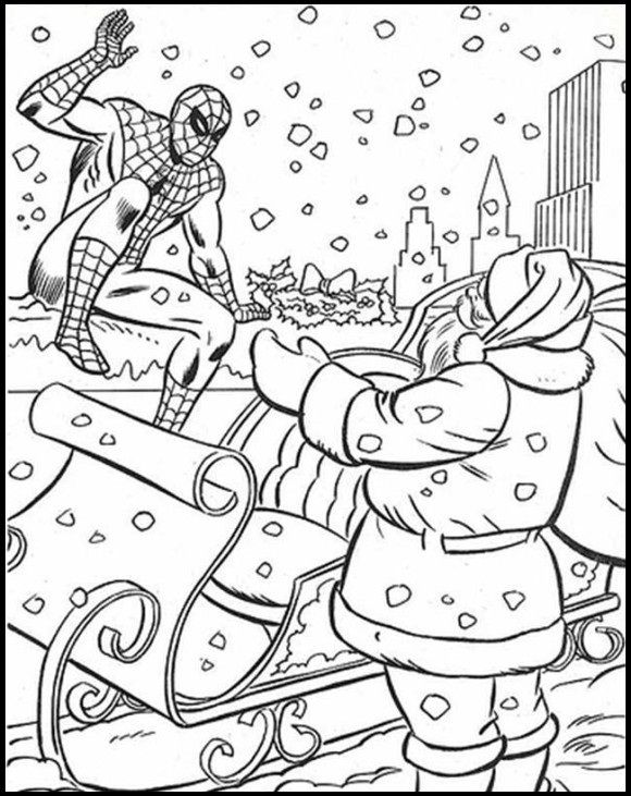 christmas avengers coloring pages | Spiderman Christmas With Santa coloring picture for kids ...