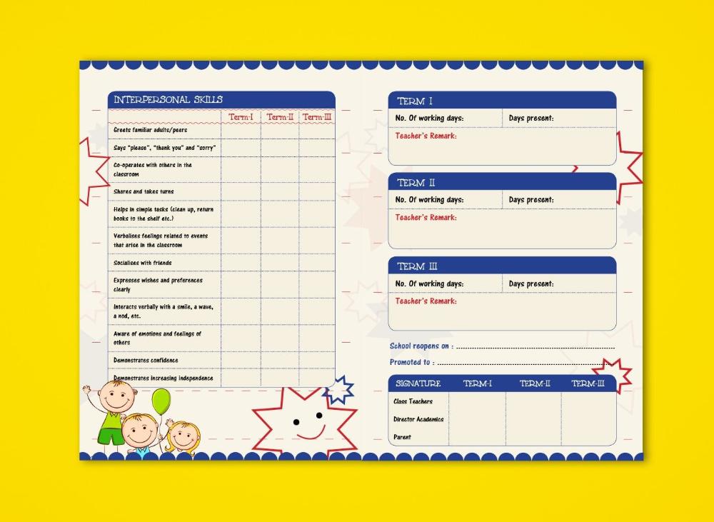 Prenursery Report Card On Behance Report Card Ideas School ...