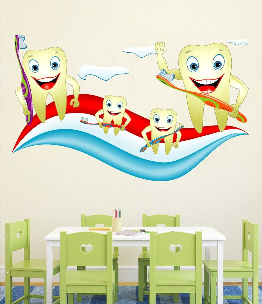 cik1524 full color wall decal teeth paste pediatric dentist dental