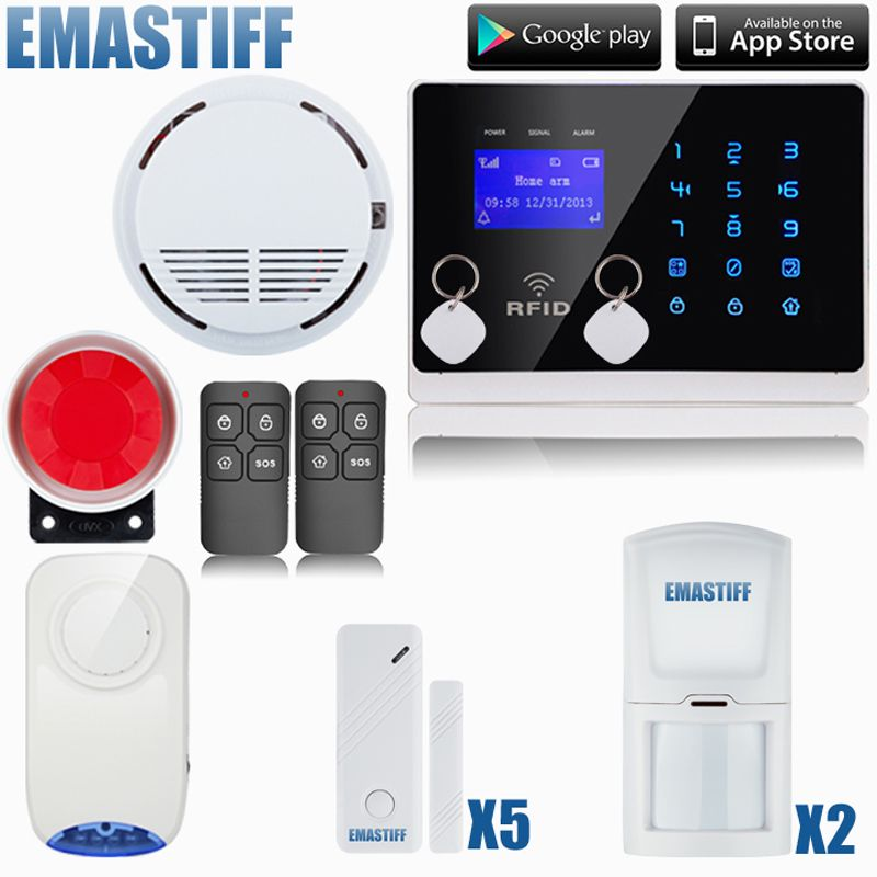 Android Ios App 99 Wireless Sensors 2 Wired Zones Gsm Alarm System Security System Smoke Detector Gsm Alarm System Security Alarm Security System