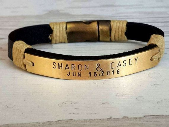 Mens Genuine Leather Gift,Gold Bracelet , Personalize Gift, Customize Bracelet , Special Wedding Gift,Gold Plate, Special Birthday Gift