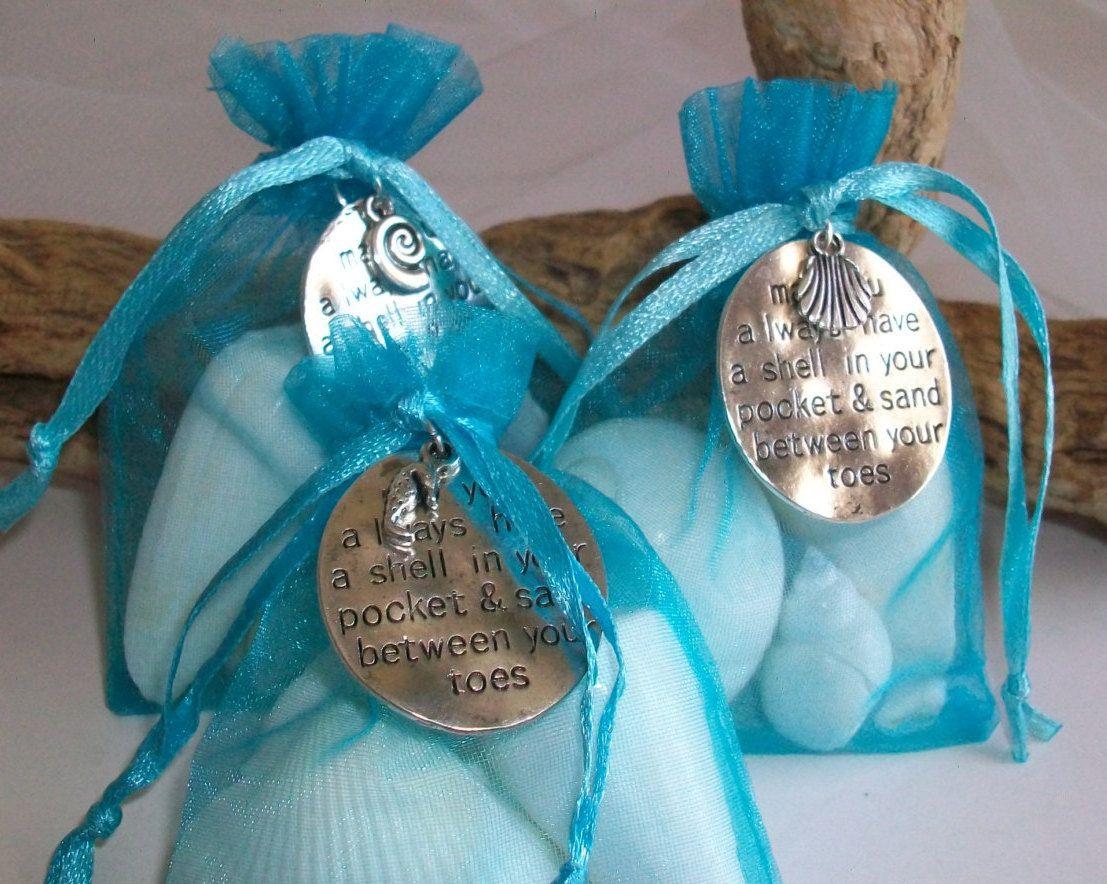 Beach Themed Seashell Gift Bag Wedding Favor Set Of 6 Seashell