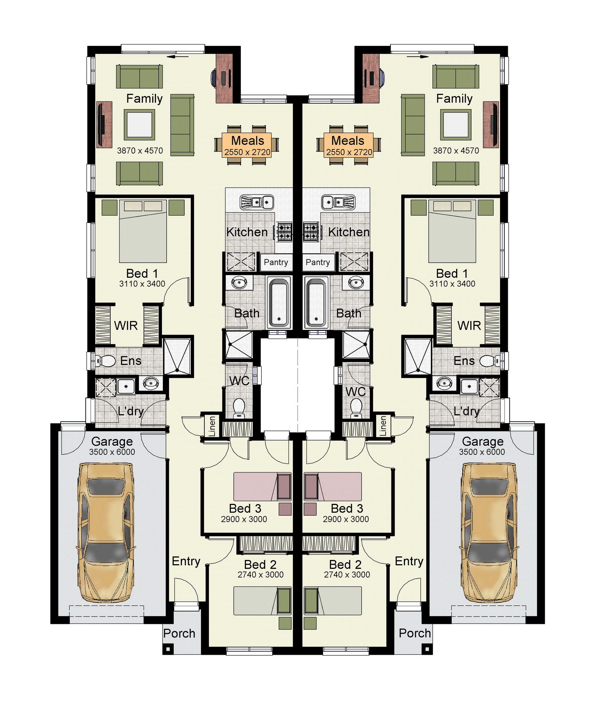 The Aon 265 Courtyard Is A Duplex Design That Makes Everyday Living A Breeze Duplex Floor Plans Duplex Plans Family House Plans