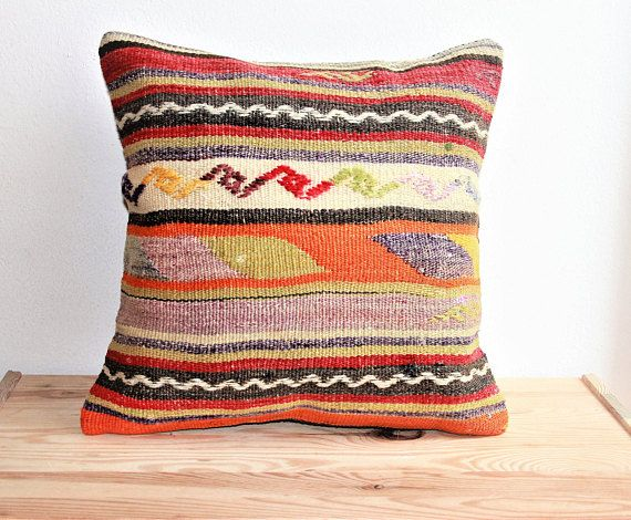 Asian Pillows Pillow Navajo Oriental Kilim Cushion Ethnic 40x40 Boho  Handwoven Home Décor Middle Eastern Rug
