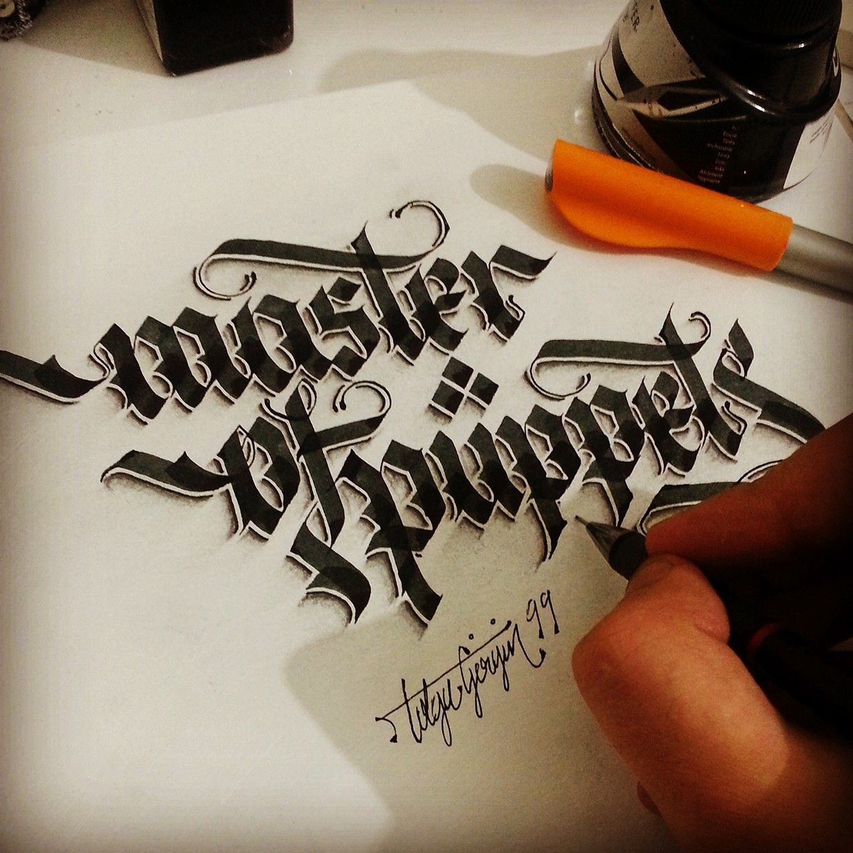 Some Shaded Lettering With Parallelpen Amp Pencil