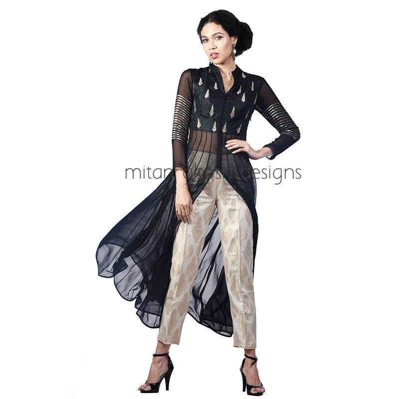 Black Embellished long Shirt With Brocade Pants