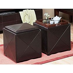 Chocolate Synthetic Leather Storage Cube With Wood Serving Tray By