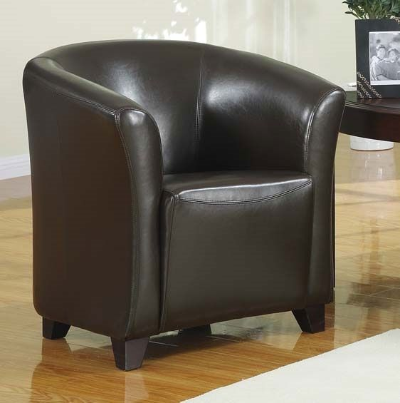 Seattle Leather Tub Chair   Dark Brown Leather