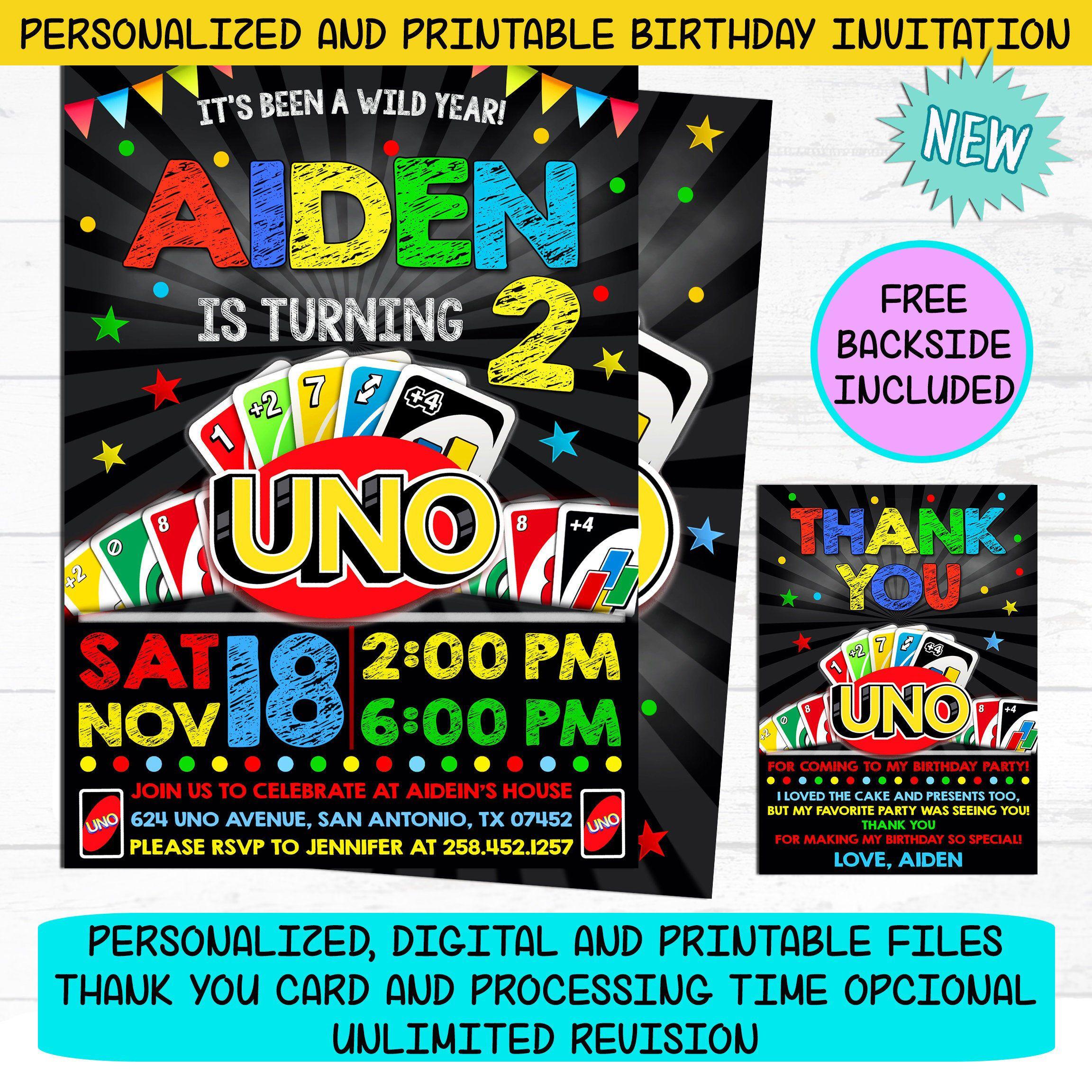 UNO Invitation Uno Card Game Birthday Party Invite Free  Etsy