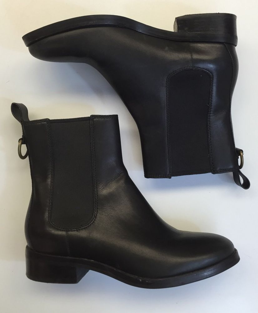 Cole Haan Women's Nike Air Waterproof Black Flat Leather Ankle Boots Size 5